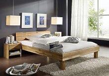 SAM® Massives Holzbett Wildeiche Bett Columbia 140 x 200 cm geschlossenes Kopfteil Holzbett aus Eiche Massivholz geöl