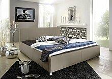 SAM Polsterbett 100x200 cm Katja, muddy, Bett aus Kunstleder, abgestepptes Kopfteil, stilvolle Chromfüße, als Wasserbett geeigne