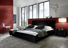 SAM® Polsterbett 120x200 cm Zarah, schwarz, pflegeleichtes Design-Bett mit Kunstlederbezug, abgestepptes Kopfteil