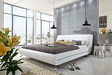 SAM® Polsterbett 180x200 cm Monera, weiß, Bett mit gepolstertem, hohen Kopfteil, schwarze Akzente