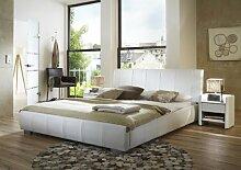 SAM Polsterbett Innocent 180x200 cm Latina, weiß, Bett aus Kunstleder, abgestepptes Design, als Wasserbett geeigne
