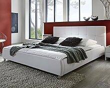 SAM® Polsterbett weiß 180x200 cm, Bett mit chrom-farbenen Füßen, Kopfteil modern im abgesteppten Design, Doppelbett auch als Wasserbett geeignet [53256018]