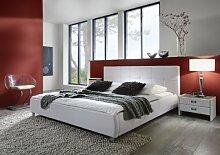 SAM® Polsterbett Zarah weiß 200 x 200 cm, Bett mit chrom-farbenen Füßen, modernes Design, Kopfteil abgesteppt, als Wasserbett verwendbar