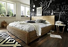 SAM Rattanbett 140x200 cm Ngan 9134, in dust, Bett in natürlichem Look, in ausgefallenem Design, angenehmer Liegekomfor