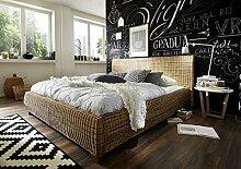 SAM® Rattanbett Ngan 9137, in dust, Bett in natürlichem Look in ausgefallenem Design, angenehmer Liegekomfort, widerstandsfähige Oberfläche, 200 x 200 cm