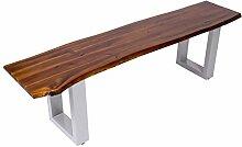 SAM® Sitzbank 160x40 cm Ida, Akazien-Holz, massive Holzbank, Baumkantenbank mit silber lackierten Metallbeinen