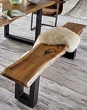 SAM® Sitzbank Quentin 200x40 cm, massive Holzbank, Akazie, echte Baumkante, U-förmiges Metallgestell, Unikat, exklusives Design