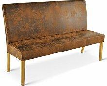 SAM® Sitzbank Sergio 120 cm in Wildlederoptik, Stoff mit buche-farbigen Beinen aus Pinien-Holz, Bank mit Rückenlehne in zeitloser Optik, gepolsterte Essbank für angenehmen Sitzkomfor