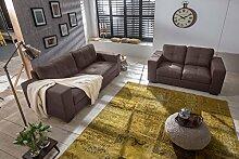 SAM® Sofa-Garnitur Aviano, 2tlg. Polstergarnitur in braun aus Stoff, abgestepptes Design, pflegeleichte Oberfläche, sehr hoher Sitzkomfort, Sofalandschaft bestehend aus 1 x 2-Sitzer + 1 x 3-Sitzer