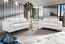 SAM® Sofa Garnitur Belair 2tlg., weiß, Sofalandschaft, edle Metallfüße, 1 x 2-Sitzer + 1 x 3-Sitzer + 1 x Hocker, pflegeleichte Oberfläche, angenehmer Sitzkomfort, hochwertige Taschenfederung