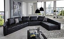 SAM® Sofa Garnitur schwarz rechts 380 x 290 cm, exklusiv designed by Ricardo Paolo®, komfortabel und pflegeleicht [521950]