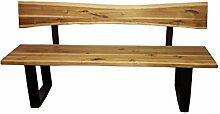SAM® Stilvolle Sitzbank Imke aus Akazie-Holz, Bank mit lackierten Beinen aus Roheisen, naturbelassene Optik mit einer Baumkanten-Oberfläche, 200 x 40 cm