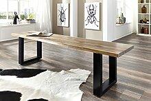 SAM® Stilvolle Sitzbank Imker aus Akazie-Holz, Bank mit lackierten Beinen aus Roheisen, naturbelassene Optik mit einer Baumkanten-Oberfläche, 160 x 40 cm