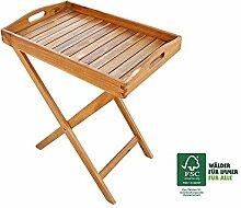 SAM® Tablett Luigi mit Ständer, aus Akazie, FSC® 100 % zertifiziert, Servierwagen, geölt, massives Hartholz, zusammenklappbarer Ständer, ideal für Balkon, Terrasse oder Garten
