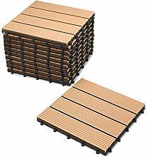 SAM® Terrassen-Fliese aus WPC Kunststoff, 11er Spar Set für 1 m², Farbe teak, Garten-Fliese mit 4 Latten, Balkon Bodenbelag mit Drainage Unterkonstruktion, Klick-Fliesen, FSC® 100% zertifizier