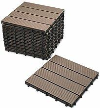 SAM® Terrassen-Fliese aus WPC Kunststoff, 11er Spar Set für 1 m², Farbe schoko, Garten-Fliese mit 4 Latten, Balkon Bodenbelag mit Drainage Unterkonstruktion, Klick-Fliesen, FSC® 100% zertifizier