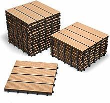 SAM® Terrassen-Fliese aus WPC Kunststoff, 22er Spar Set für 2 m², Farbe teak, Garten-Fliese mit 4 Latten, Balkon Bodenbelag mit Drainage Unterkonstruktion, Klick-Fliesen, FSC® 100% zertifizier