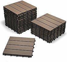 SAM® Terrassen-Fliese aus WPC Kunststoff, 22er Spar Set für 2 m², Farbe schoko, Garten-Fliese mit 4 Latten, Balkon Bodenbelag mit Drainage Unterkonstruktion, Klick-Fliesen, FSC® 100% zertifizier