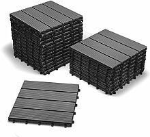 SAM® Terrassen-Fliese aus WPC Kunststoff, 22er Spar Set für 2 m², anthrazit-grau, Garten-Fliese mit 4 Latten, Balkon Bodenbelag mit Drainage Unterkonstruktion, Klick-Fliesen, FSC® 100% zertifizier