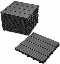 SAM® Terrassen-Fliese, WPC Kunststoff, 11er Spar Set für 1 m², Farbe anthrazit-grau, Garten-Fliese mit 4 Latten, Balkon Bodenbelag mit Drainage Unterkonstruktion, Klick-Fliesen, FSC® 100% zertifizier