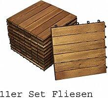 SAM® Terrassenfliese 01, Holz-Fliese aus Akazie, geölt, 11 Fliesen für 1 m², 30x30 cm, Garten-Fliese, FSC® 100% zertifiziert, Bodenbelag mit Drainage, Klick-Fliesen für Balkon Garten Terrasse