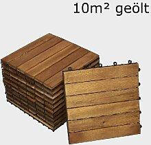 SAM® Terrassenfliese 01, Holz-Fliese aus Akazie, geölt, 110 Fliesen für 10 m², 30x30 cm, Garten-Fliese, FSC® 100% zertifiziert, Bodenbelag mit Drainage, Klick-Fliesen für Balkon Garten Terrasse