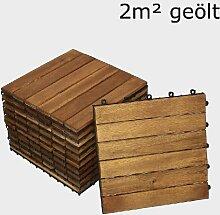 SAM® Terrassenfliese 01, Holz-Fliese aus Akazie, geölt, 22 Fliesen für 2 m², 30x30 cm, Garten-Fliese, FSC® 100% zertifiziert, Bodenbelag mit Drainage, Klick-Fliesen für Balkon Garten Terrasse