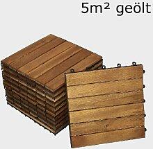 SAM® Terrassenfliese 01, Holz-Fliese aus Akazie, geölt, 55 Fliesen für 5 m², 30x30 cm, Garten-Fliese, FSC® 100% zertifiziert, Bodenbelag mit Drainage, Klick-Fliesen für Balkon Garten Terrasse