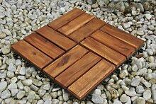 SAM® Terrassenfliese 02 aus Akazien-Holz, FSC® 100 % zertifiziert, Einzelfliese, Garten-Fliese, Bodenbelag mit Drainage, Klick-Fliesen für Garten Terrasse Balkon, Mosaik-Muster, 30 x 30 cm