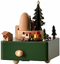 SamES Weihnachten Zug Hölzerne Spieluhr Clockwork