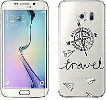 """Samsung Galaxy S6 Edge Hülle von licaso® Case transparent klare Schutz-Hülle Samsung S6 Edge 5,1"""" Reisen Urlaub Ferien Kompass Tasche Mobile Phone Case Geschenk Druck Frauen Männer (Samsung Galaxy S6 Edge, Reisen)"""