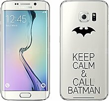 "Samsung Galaxy S6 Edge Hülle von licaso® Case transparent klare Schutz-Hülle Samsung S6 Edge 5,1"" Keep Calm & Call Bat Fledermaus Comic Superheld Tasche Mobile Phone Case Geschenk Druck Frauen Männer (Samsung Galaxy S6 Edge, Keep Calm & Call Bat)"