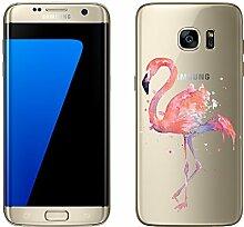 """Samsung Galaxy S7 Edge Hülle von licaso® Case transparent klare Schutz-Hülle Samsung S7 Edge 5,5"""" Pinker Vogel Lustig Fliegen Zoo Tasche Mobile Phone Case Geschenk Druck Frauen Männer (Samsung Galaxy S7 Edge, Pinker Vogel)"""