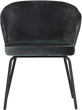 Samt Stühle in Blaugrau Metallgestell (2er Set)