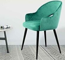 Samt Stühle in Grün Metallgestell in Schwarz