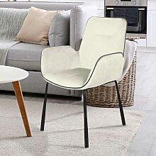 Samt Stuhl in Creme Weiß Armlehnen