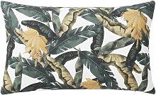 Samtkissen bedruckt mit Blättern; ecru 30x50