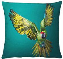 Samtkissen mit beeindruckendem Papageien-Motiv
