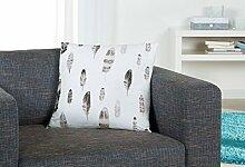 Samtkissen mit grauen Federn weiß 300247 Dekokissen Zierkissen ca 45 x 45 cm NEU