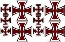 Samunshi® 10x Aufkleber Eisernes Kreuz im Set