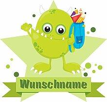 Samunshi® Grünes Schul-Monster Wandtattoo