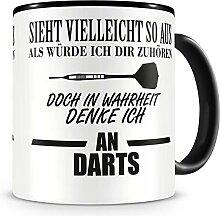 Samunshi® Ich denke an Darts Tasse Kaffeetasse
