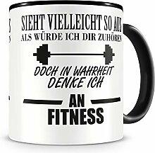 Samunshi® Ich denke an Fitness Tasse Kaffeetasse
