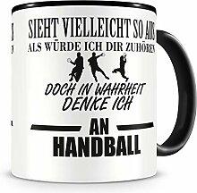 Samunshi® Ich denke an Handball Tasse Kaffeetasse