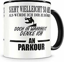 Samunshi® Ich denke an Parkour Tasse Kaffeetasse