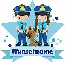Samunshi® Polizei Wandtattoo Türschild mit Name