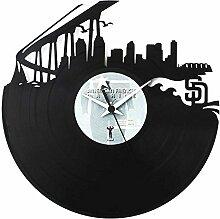 San Diego Amerikanische Stadt Geschenkidee Vinyl Schallplatten-Uhr Schwarz Vinyluse original