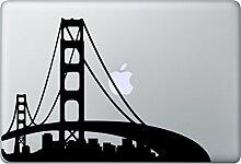 SAN FRANCISCO Skyline Aufkleber Macbook Air Pro Sticker Decal Apple USA (Schwarz)