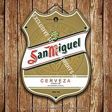San Miguel Etikett Largar. Bier Werbe Bar, Alte Pub Drink Pumpe Abzeichen Brewery Fass Fass Fassbier Real Ale Pint Alkohol Hops Form Metall/Stahl Wandschild - 27 x 20 cm