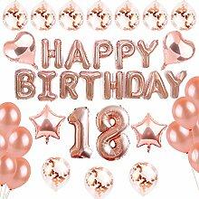 SANCUANYI 18th Happy Birthday Ballons Banner,